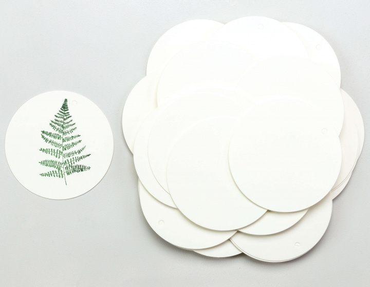 Gift tag blanco rond wit groot (5 stuks)