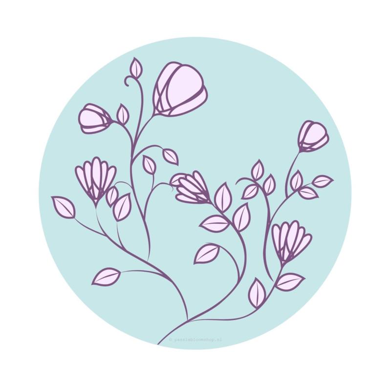 Sluitstickers bloemen lila en blauw