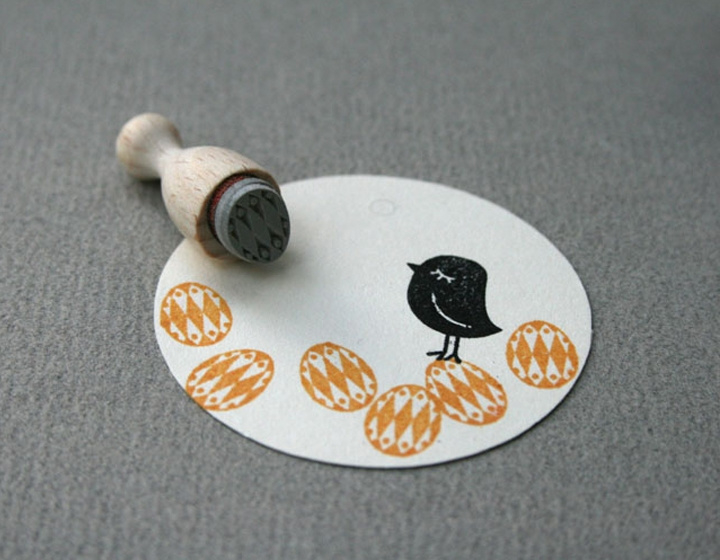 Mini Stempel S | Versierd eitje, harlequin ruit
