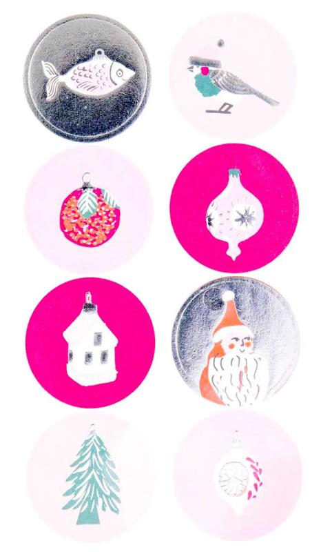 Stickers kerst neon roze rond