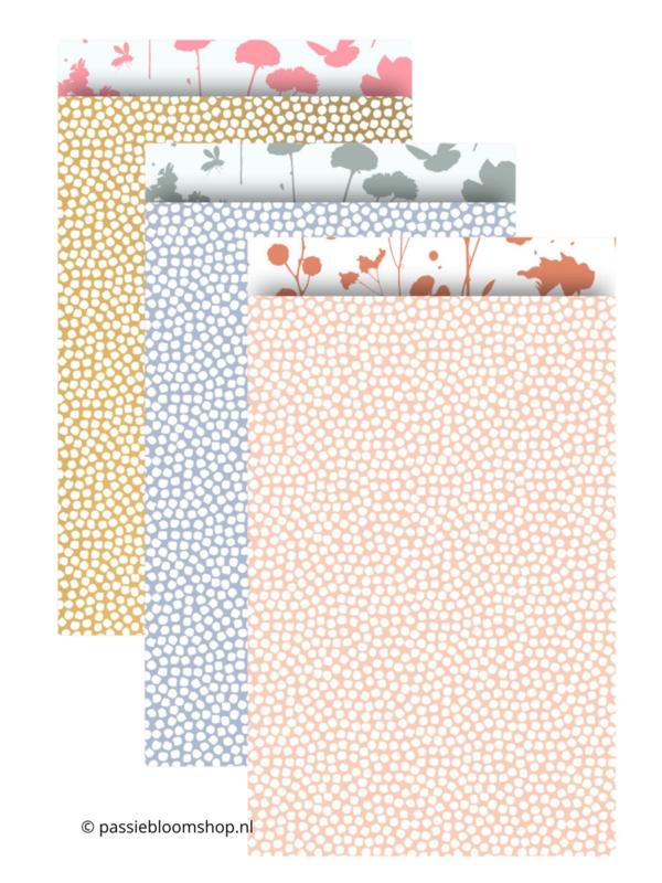 MIX pastel stippen/bloemen cadeauzakjes (10stuks)
