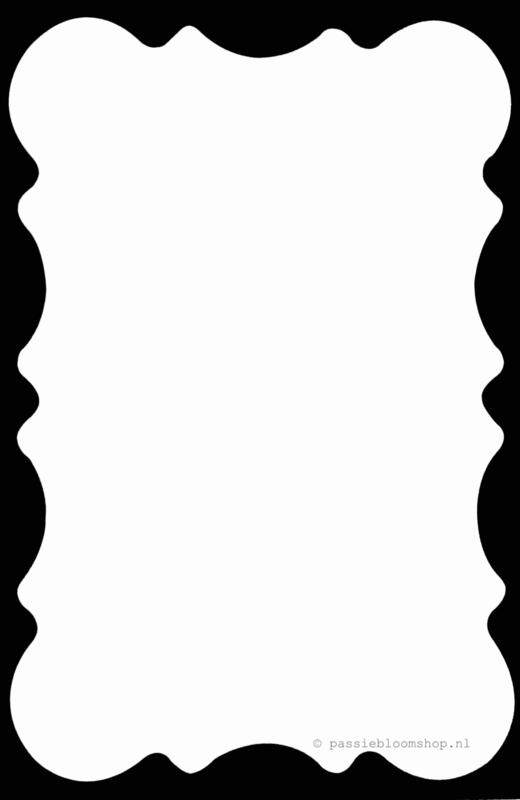 Blanco kaart met  zwarte waves rand A6