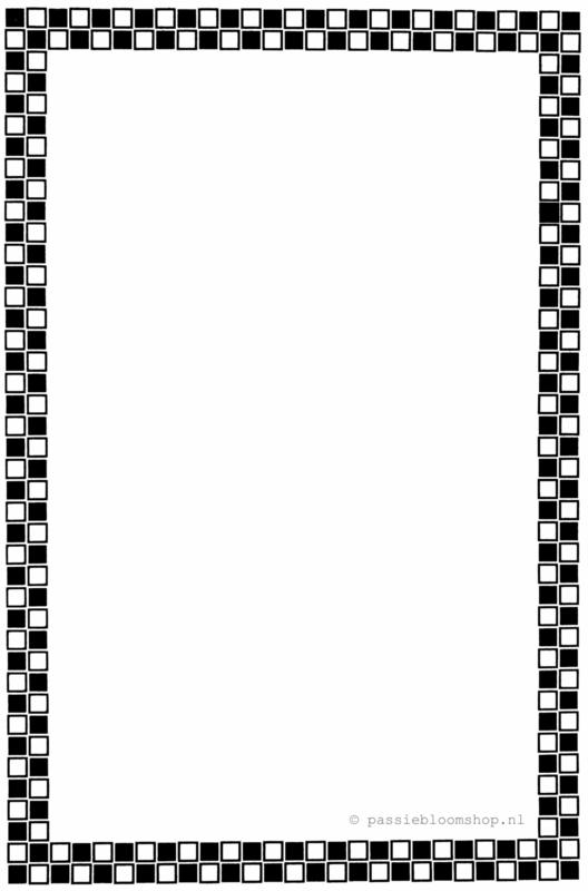 Blanco kaart met  zwarte ruitjes rand A6