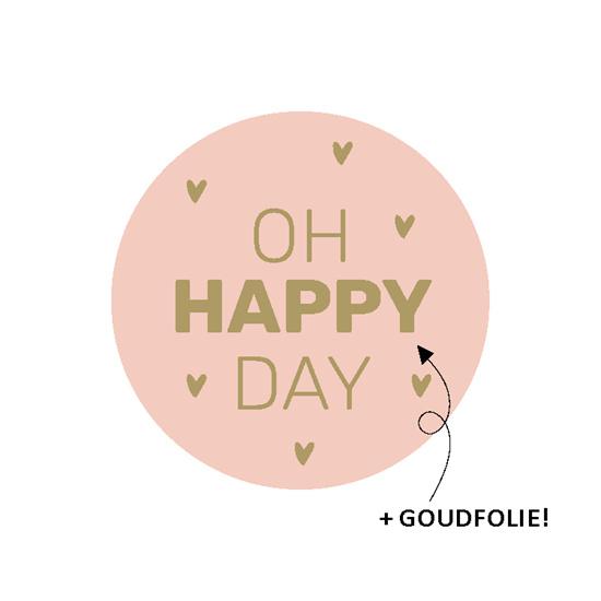 Sluitsticker rond Oh happy day Roze