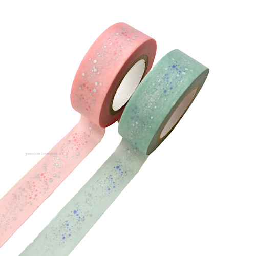 Washi tape stippen bubbels blauw
