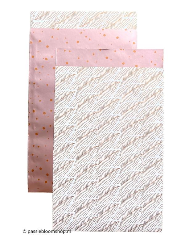 MIX witte veren / rosé stippen (10 zakjes)