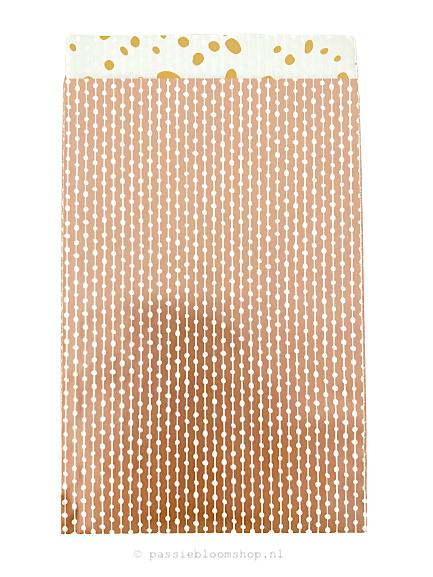 Cadeauzakje rosegoud stippen patroon 12x19