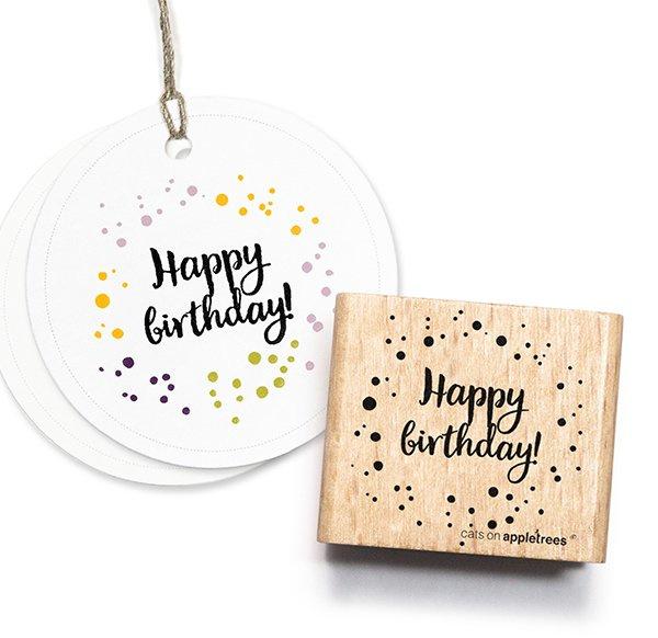 Stempel Happy Birthday confetti