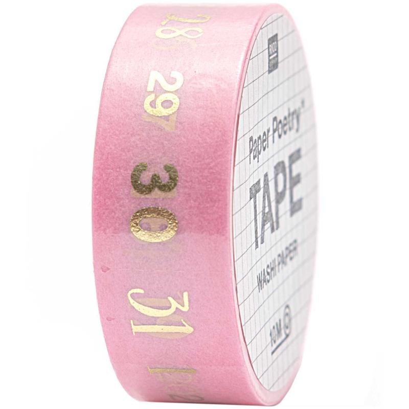 Washi tape | Dagen van de week, cijfers goud roze