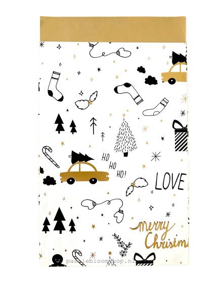 Cadeauzakje kerst papier illustraties 12x19