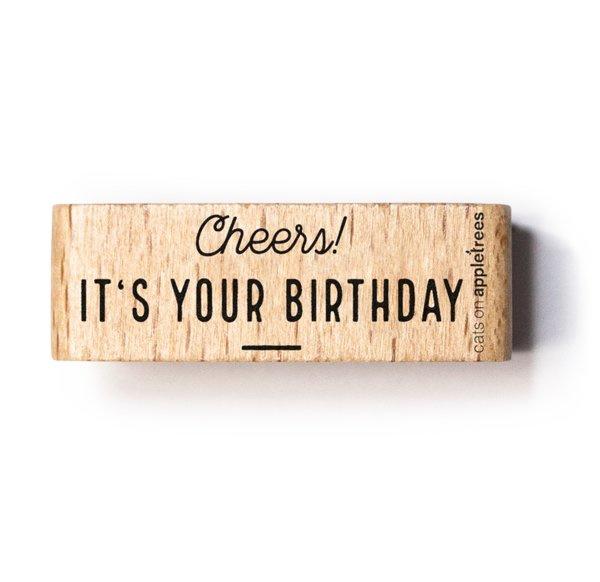Tekst stempel Cheers it's your birthday