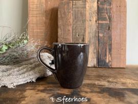 koffie/thee mok met oor, bruin/zwart