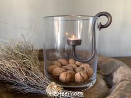 stoere ijzeren glashaak voor theelicht