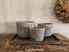 oud stenen pot, maat L