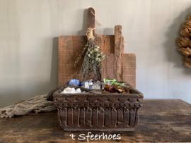 grote oud houten spicebox met handvat, 5 vakken