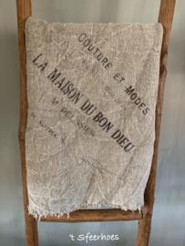 linnen shabby doek: tekst (100x100 cm)
