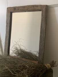 oude railway houten spiegel
