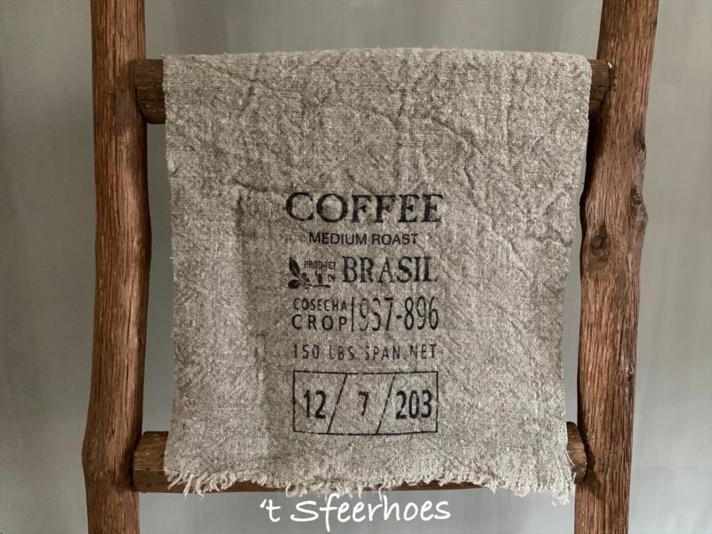 linnen shabby doek: coffee (30x45 cm)