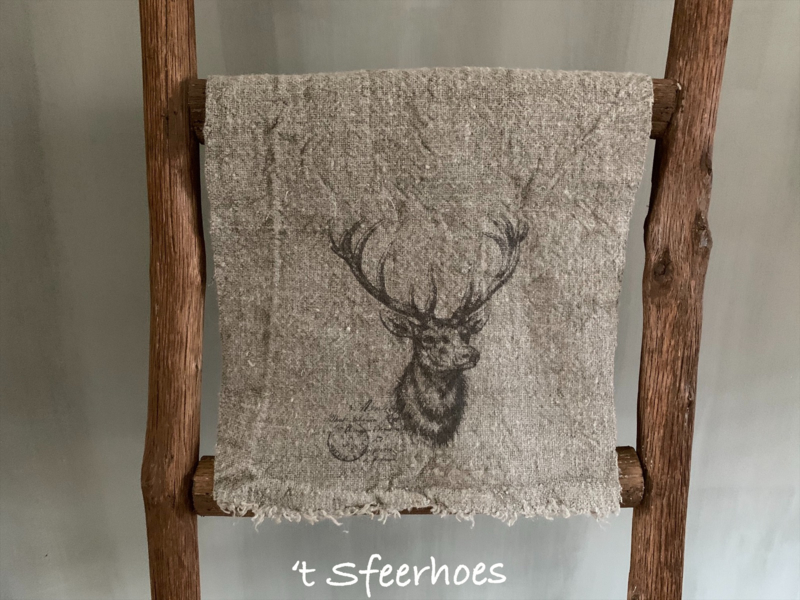 linnen shabby doek: hert (30x45 cm)