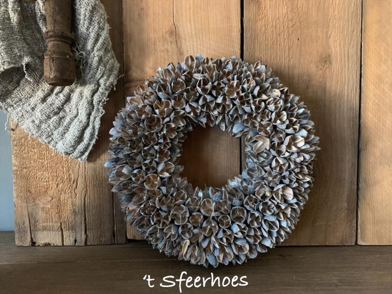 krans bakuli wreath white wash, doorsnede 30 cm
