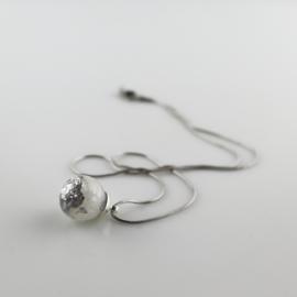 Drupt Hanger Snufje Zilver Wit