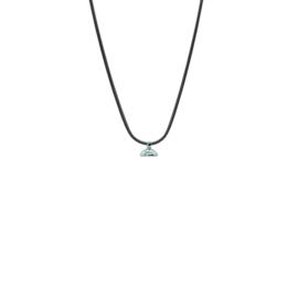 Drupt Zwarte Slangenketting - Zilveren Connector