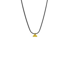 Drupt Zwarte Slangenketting - Gouden Connector
