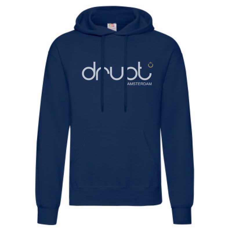 Drupt hoodie Navy Blue fade logo white