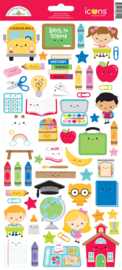 School Days Icons Stickers - unit of 3