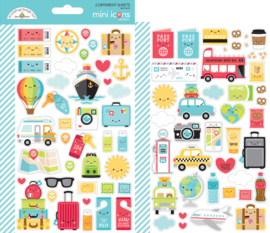 I ♥ Travel Mini Icons Stickers - unit of 3