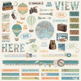 Simple Vintage Traveler Combo Stickers Sheet - Unit of 3