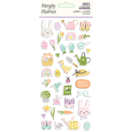 Bunnies + Blooms - Puffy Stickers - Unit of 3