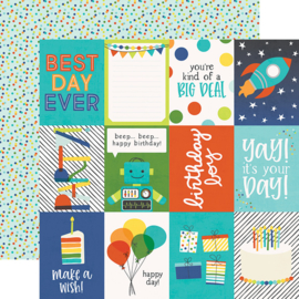 "Birthday Blast 3x4 Elements Double Sided 12x12"" - Unit of 5"
