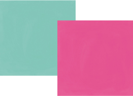 "Oh, Happy Day! Fuchsia/Turquoise Double Sided 12x12"" - Unit of 5"