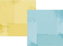 """Simple Vintage Botanicals Basics Light Blue/Yellow Double Sided 12x12"""" - Unit of 5"""