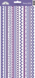Lilac Fancy Frills Cardstock Stickers - Unit of 6