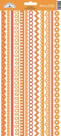 Tangerine Fancy Frills Cardstock Stickers - Unit of 6