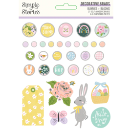 Bunnies + Blooms  - Decorative Brads - Unit of 3