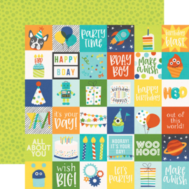 "Birthday Blast 2x2 Elements Double Sided 12x12"" - Unit of 5"
