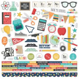 School Life - Cardstock Sticker  - unit of 3