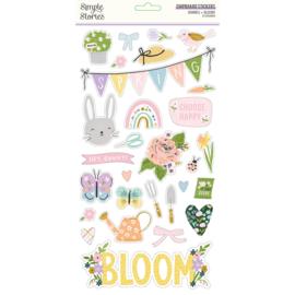 Bunnies + Blooms - 6x12 Chipboard  - Unit of 3