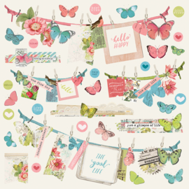 Simple Vintage Botanicals Banners Stickers Sheet - Unit of 3