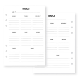Menu Planning Inserts- Unit of 3