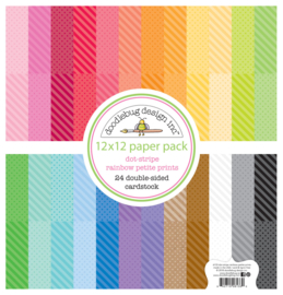 Dot-Stripe Rainbow Petite Prints 12x12 Paper Pad - Unit of 1