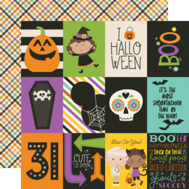 "Say Cheese Halloween 3x4 Elements  Double Sided 12x12"" - Unit of 5"