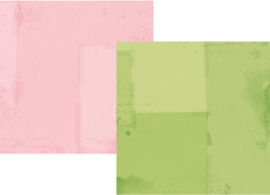 "Simple Vintage Botanicals Basics Green/Pink Double Sided 12x12"" - Unit of 5"