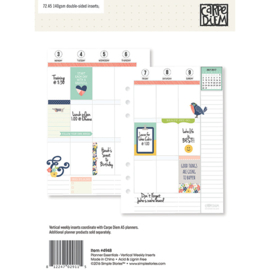 Planner Essentials A5 Vertical Format Weekly Inserts- Unit of 3