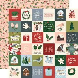 "Winter Cottage- 2x2 Elements Double Sided 12x12"" - Unit of 5"