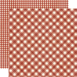 "Jingle All the Way - Cranberry Plaid/Gingham Double Sided 12x12"" - Unit of 5"