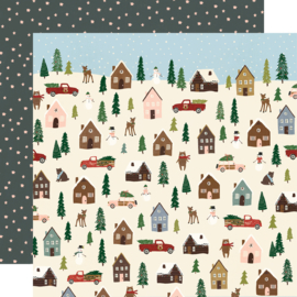"Winter Cottage- Winter Wonderland Double Sided 12x12"" - Unit of 5"